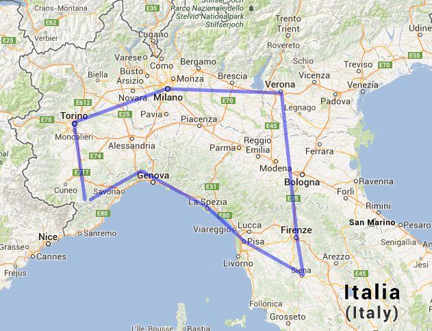 Índice del viaje en coche por Toscana y norte de Italia