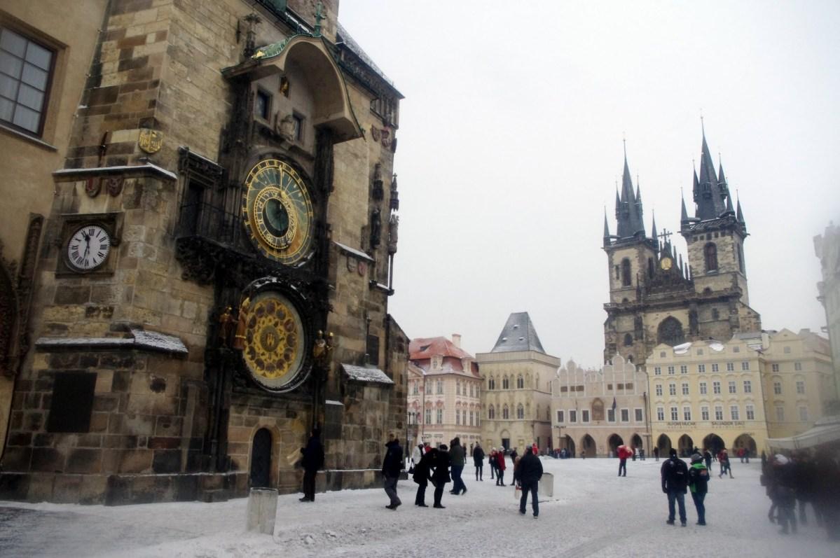 Praga con frío, mucho frío.