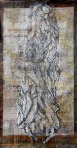 Écorce , dessin sur eau forte , 50*100 cm, 2020 - Artiste Plasticienne Noiseau & Val de Marne 94