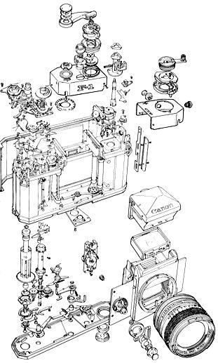 Mechanical parts Canon F-1.image (40k Jpeg)