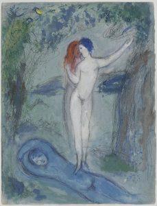 Marc Chagall, Le baiser de Chloé, 1954–1956_Mine graphite, gouache et aquarelle sur papier, 42 x 32 cm © Musée National d'Art Moderne, Centre Pompidou, Paris (photo Philippe Migeat) © ADAGP, Paris 2017