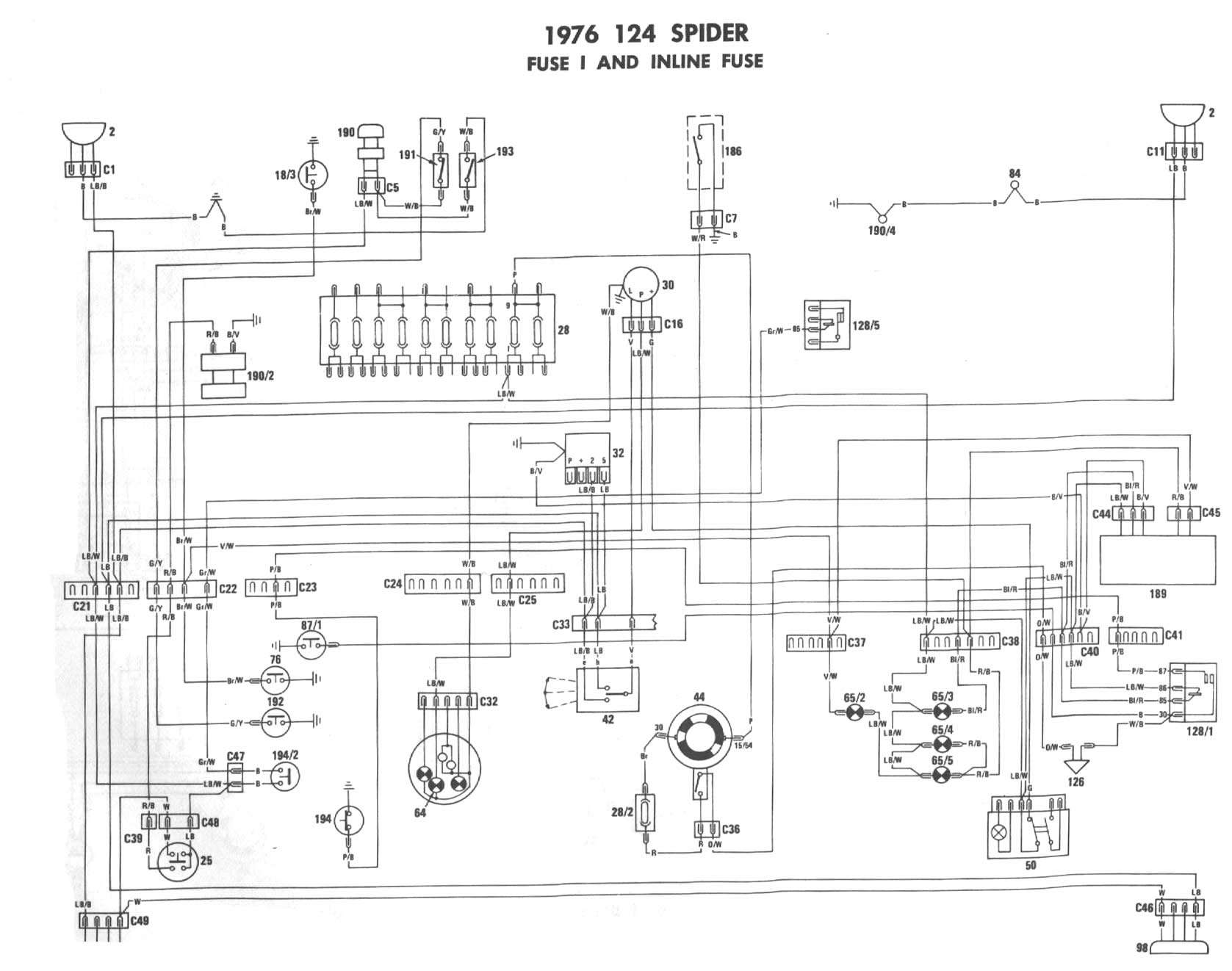fiat spider wiring diagram transformer single phase 1976 diagrams
