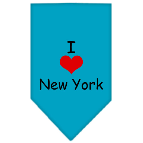 I Heart New York Screen Print Bandana Turquoise Small