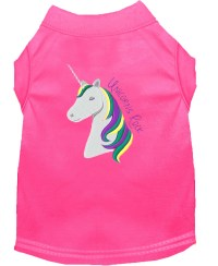 Unicorns Rock Embroidered Dog Shirt Bright Pink XL