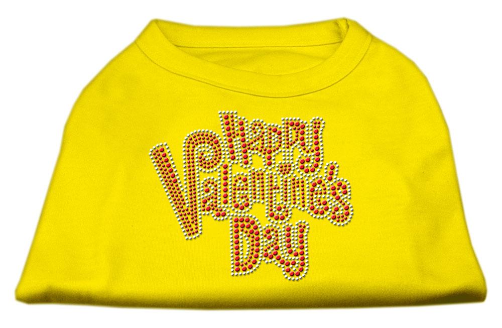 Happy Valentines Day Rhinestone Dog Shirt Yellow Lg