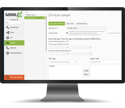 Miralix Supervisor Add-on er et modul i Miralix' KontaktCenter, som giver adgang til ændring og opsætning af løsningen.