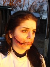 sfx makeup, special effects make up, horror, gore, trauma, wounds, prosthetic, silicone, laceration, chelsea smile, blood