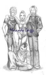 original characters, pencil, character study, 3 guys and a girl