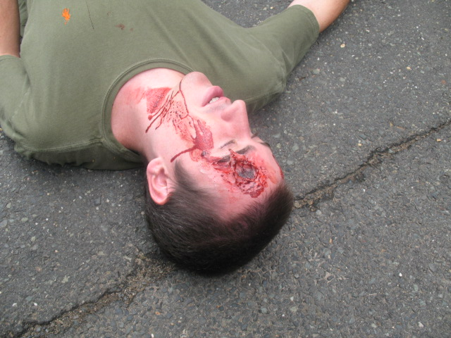 sfx makeup, special effects make up, horror, gore, trauma, wounds, prosthetic, silicone, head shot, gunshot wound, gunshot, GSW, exit wound, blow your brains out