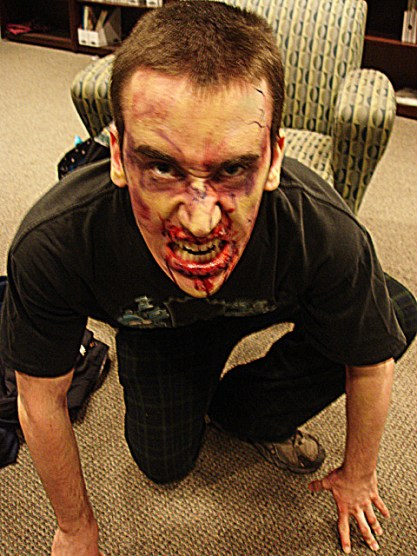 sfx makeup, special effects make up, horror, gore, trauma, wounds, zombie, blood, fast zombie