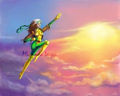 rogue, x-men, marvel, comics, flying, sunset, the animated series, costume