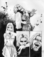 comic page, comic layout, panels, vampires, vampire feeding, vampire turning, ink, pen and ink