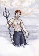 Finnick Odair from the Hunger Games, trident, catching fire, shirtless