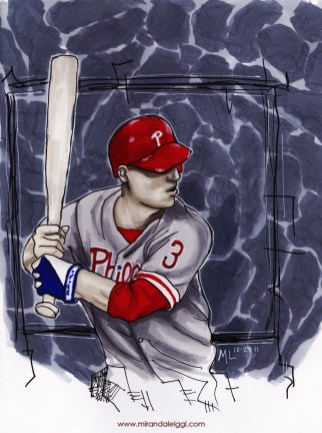 copic marker sketch of an athlete baseball drawing