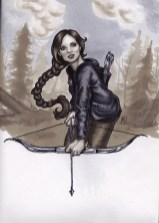 Katniss Everdeen, arher, archery, hunger games, copic marker drawing