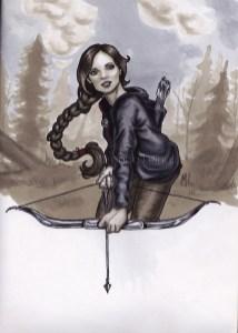 Katniss Everdeen, arher, archery, hunger games, copic marker drawing