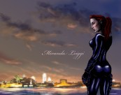 comic, original character, philadelphia skyline, dusk, cat suit, red hair, badass, ninja chick