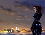 comic, original character, philadelphia skyline, dusk, cat suit, red hair, badass, ninja chick