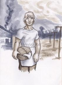 Peeta Mellark, copic marker drawing, hunger games