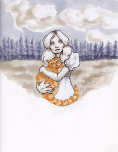 Primrose Everdeen fan art from the Hunger Games, buttercup, cat, copics