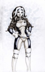 comic, rogue, x-men, the animated series costume, copic marker drawing, female, superhero