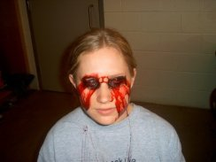 trauma, wound, sfx make up, special effects makeup, horror, gore, gouged eyes, missing eyes, stage test, theatrical makeup