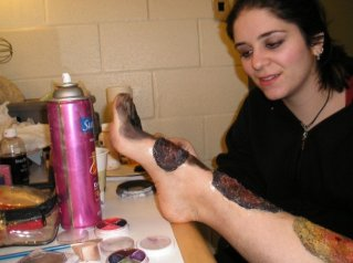trauma, wound, sfx make up, special effects makeup, horror, gore, gangrene, work in progress, behind the scenes