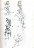girls in battle poses, pyslocke, phoenix, sketches
