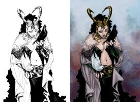 marvel, lady loki, loki, colors, ink, black and white, coloring, color, colorist