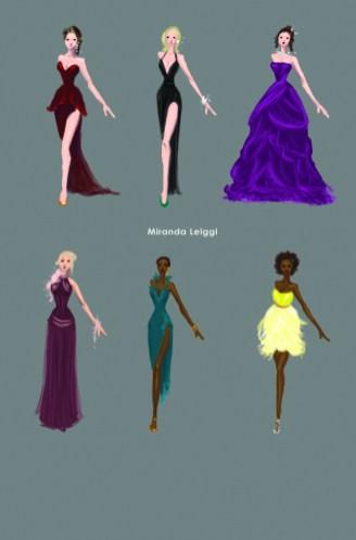 costume sketches, costume renderings, oscar dresses, fancy dress