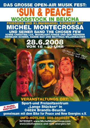\'Sun and Peace\' Woodstock in Beucha - Friedens und Klimawandel Konzert mit Michel Montecrossa and his band The Chosen Few sowie Gastmusikern