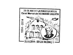 Stampila omagiala,inaugurarea Casei Memoriale Hermann Oberth