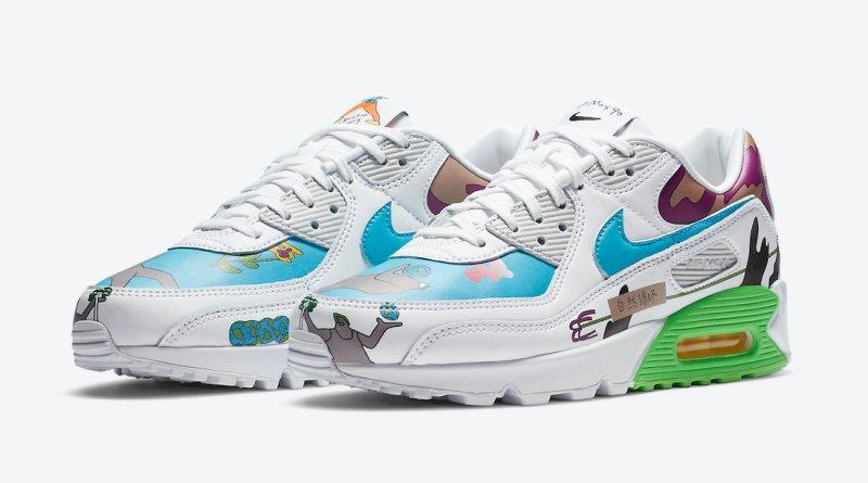 Pánské bílé tenisky Ruohan Wang x Nike Air Max 90 Flyleather White Multi Color CZ3992-900 nízké kožené boty a obuv Nike