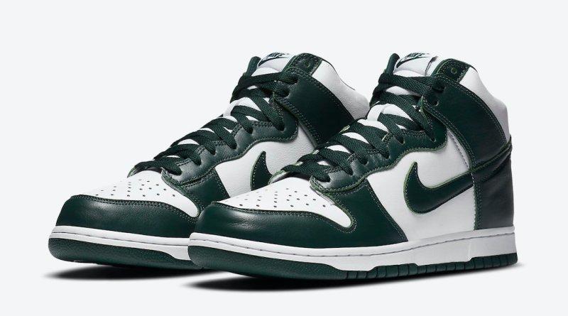 Pánské bílé a zelené tenisky Nike Dunk High SP White/Pro Green CZ8149-100 kožené a vysoké kotníkové boty a obuv Nike