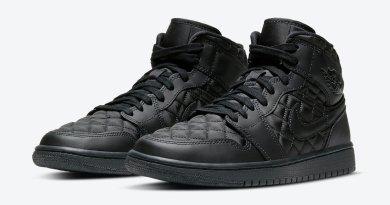 Pánské černé tenisky Air Jordan 1 Mid SE Black Quilted Black/Black-White DB6078-001 kožené a vysoké kotníkové boty a obuv Nike