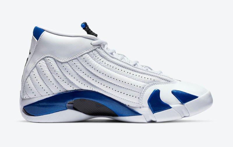 Pánské bílé tenisky Air Jordan 14 White/Hyper Royal-Black 487471-104 kožené a vysoké kotníkové boty a obuv Jordan
