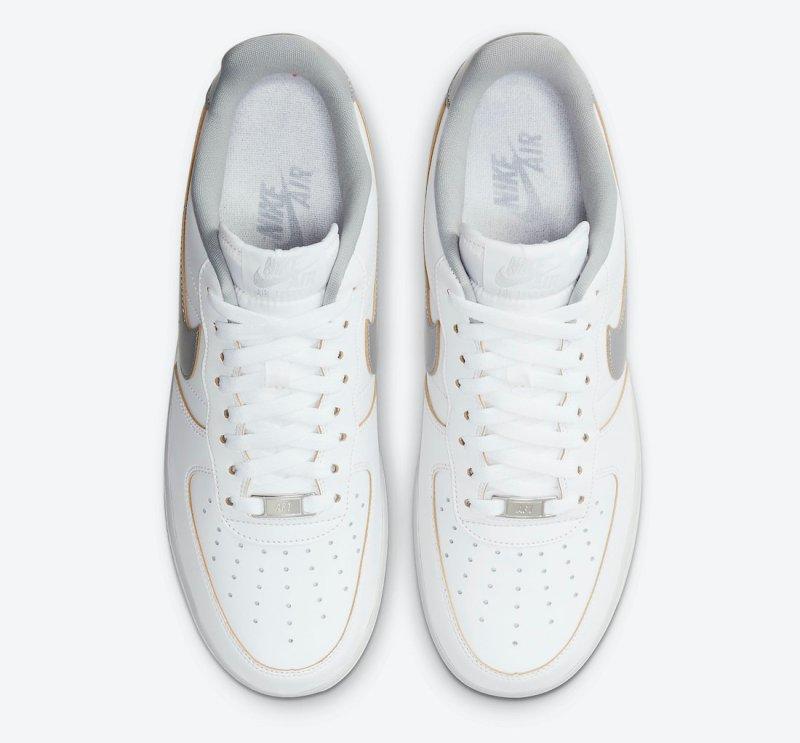 Pánské bílé tenisky Nike Air Force 1 Low White leather White/Metallic Silver DC5209-100 kožené nízké boty a obuv Nike AF1