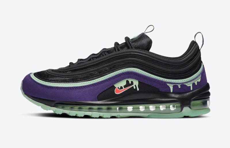 Pánské černé tenisky a boty Nike Air Max 97 Black/Red/Purple-Slime Green DC1500-001 nízké sportovní botasky a obuv Nike