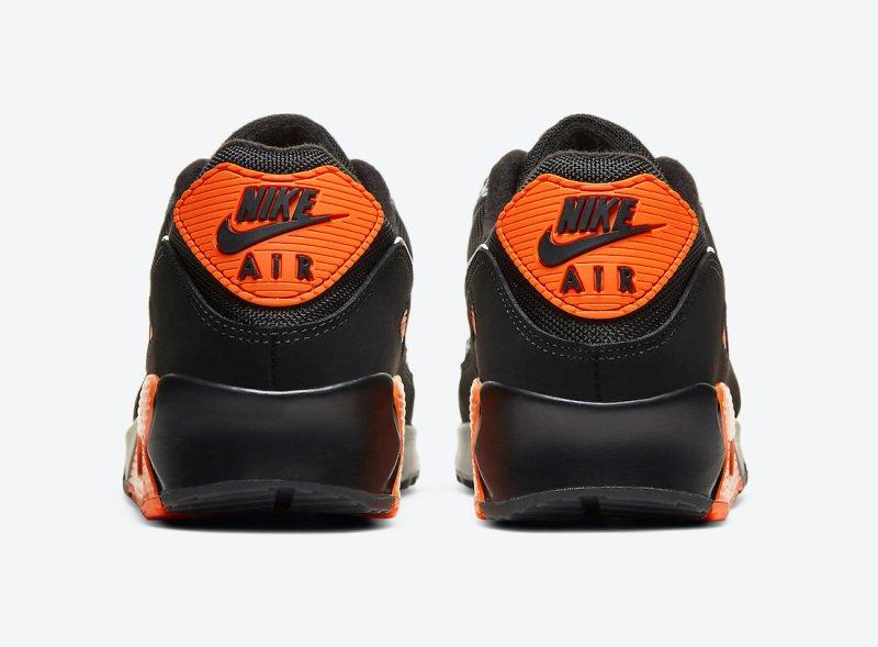 Pánské černé tenisky a boty Nike Air Max 90 Safari Black/Safety Orange-White DA5427-001 nízké sportovní botasky a obuv Nike