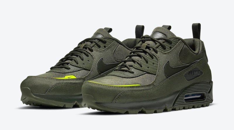 Pánské zelené tenisky a boty Nike Air Max 90 Surplus Cargo Khaki/Sequoia-Lemon Venom CQ7743-300 nízké sportovní botasky a obuv Nike