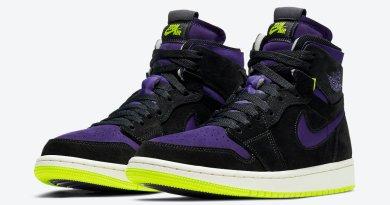 Dámské fialové černé tenisky Air Jordan 1 High Zoom WMNS Black/Court Purple-Lemon Venom-Sail CT0979-001 kotníkové boty a obuv Jordan