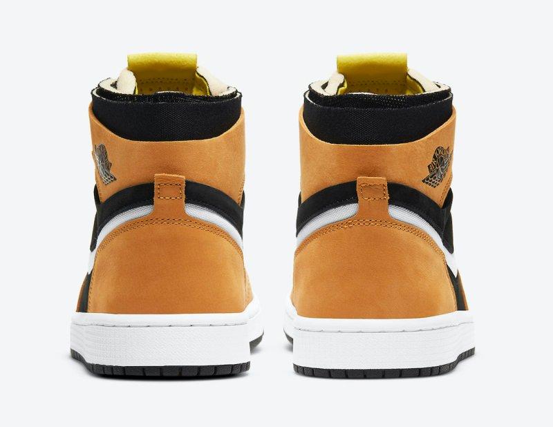 Pánské hnědé černé tenisky Air Jordan 1 Zoom Comfort Black/White-Monarch-Opti Yellow CT0978-002 semišové kotníkové boty a obuv Jordan