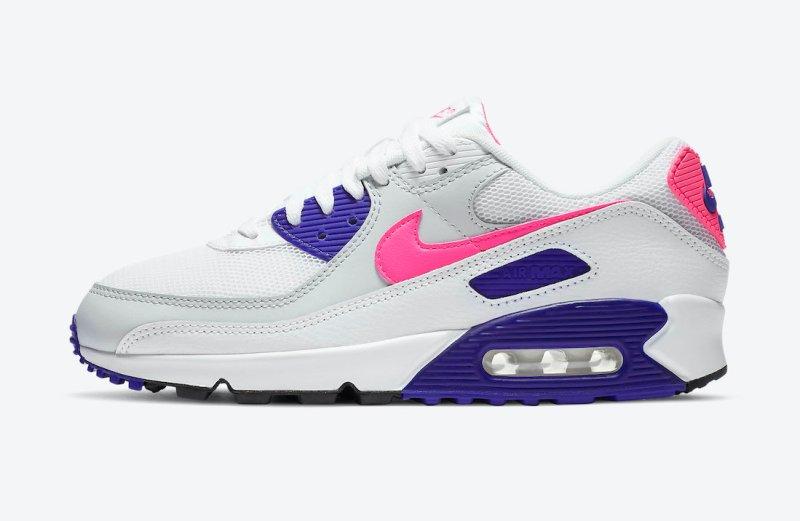 Dámské bílé tenisky a boty Nike Air Max 90 WMNS White/Vast Grey-Pink Blast-Concord DC9209-100 sportovní nízké botasky a obuv Nike