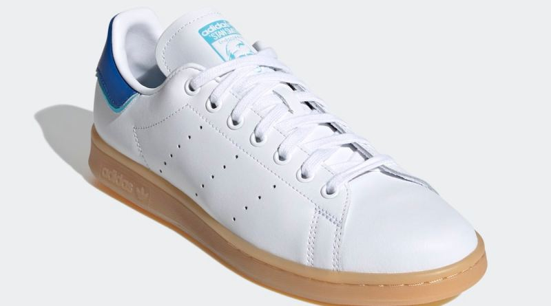 Pánské bílé tenisky a boty adidas Stan Smith Blue Heels Cloud White/Blue-Gum FU9600 kožené nízké botasky a obuv adidas