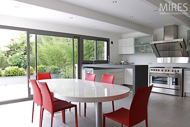 Cuisine design sur jardin C0064  Mires Paris