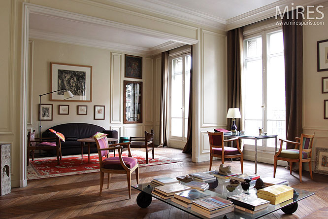 Double Haussmanian living room c0193  Mires Paris