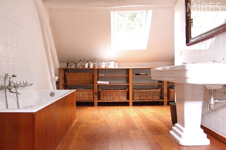 Lavabo colonne double vasque Art dco blanc bois C0613  Mires Paris