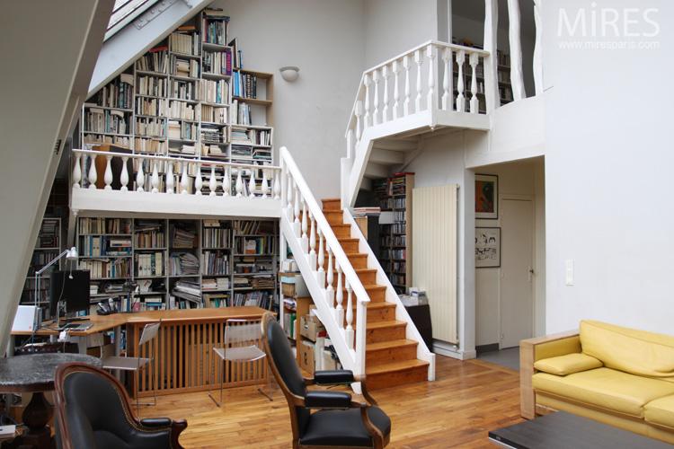 Grande verrire et mezzanine bibliothque C0594  Mires Paris