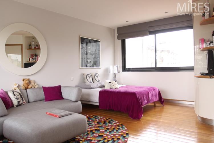 Chambresalon rose avec salle de bains C0719  Mires Paris
