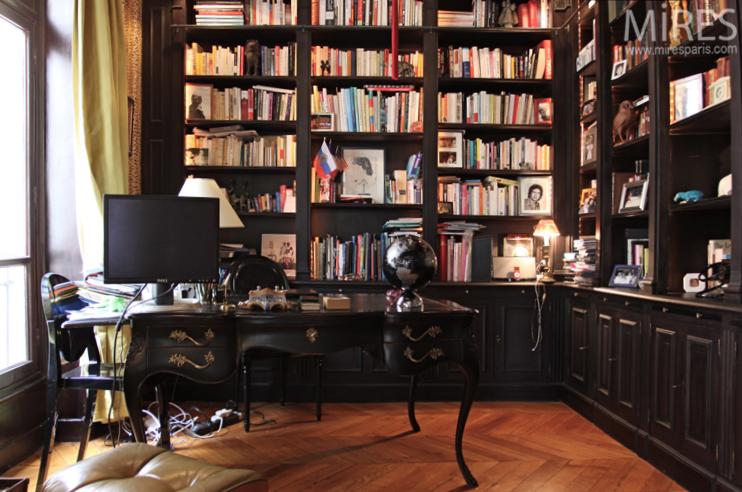 Un bureaubibliothque noir C0733  Mires Paris